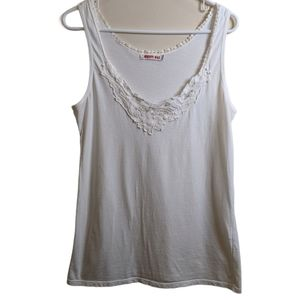 JOHNNY WAS lace & scallop detail tank top white